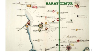 Peta pembagian wilayah pengawasan teluk Jakarta saat jaman VOC. (sumber: Makalah